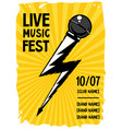 rock poster with microphone and lightning grunge vector image vector image