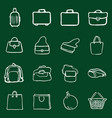 set chalk doodle bags icons vector image vector image