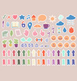 set cute stickers for planner in cartoon vector image
