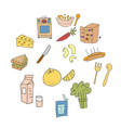 set element doodle cooking equipment colorful vector image vector image