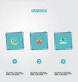 set of nature icons flat style symbols with vector image vector image