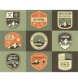 set retro style ski club patrol labels vector image vector image