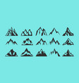 set rocks and mountains silhouettes for logo vector image