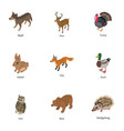 small beast icons set isometric style vector image