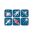 space icons set artificial satellite saturn vector image