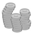 stacks of coins with crown icon monochrome vector image