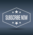subscribe now hexagonal white vintage retro style vector image vector image