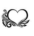 symbol of a heart with floral design vector image vector image