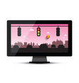 Television - tv with cars and traffic lights in vector image