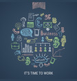 time to work hand drawn icons vector image vector image