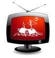 TV icon with christmas village vector image vector image