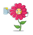 with juice pink flower character cartoon vector image vector image