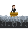 Woman holds a lecture to an audience flat vector image