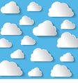 Many White Clouds On Blue Background vector image