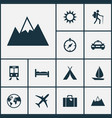 exploration icons set collection of railway vector image