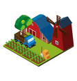 3d design for farm scene with barns and crops vector image vector image