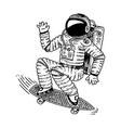 Astronaut soaring with skateboard dancing