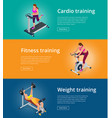 banner set fitness woman working out on exercise vector image vector image