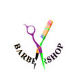 barbershop logo scissors and comb vector image vector image