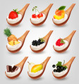 big collection of fruit and yogurt in spoon vector image vector image