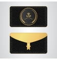 Black VIP envelope with a rubber stamp and a gold vector image vector image