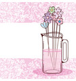 bouquet of flowers in jar vector image vector image