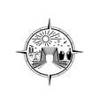 bridge emblem logo design vector image vector image