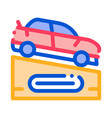 car on pedestal icon outline vector image