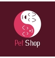 Cat and dog like Yin Yang pet shop logo vector image vector image