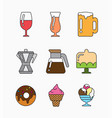 colorful flat icons with food vector image