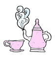 comic cartoon coffee pot and cup vector image vector image