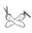 crossed barber hands with scissors and razor vector image vector image