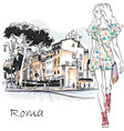 cute fashion girl in rome italy vector image vector image