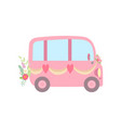 cute pink vintage van decorated with ribbons vector image vector image