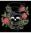 dark skull in the hat with roses vector image