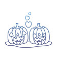 degraded outline kawaii happy pumpkin couple with vector image vector image