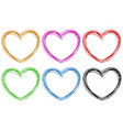 doodle hearts in six colors vector image vector image