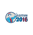 Election 2016 Uncle Sam Hand Up Circle Retro vector image vector image