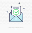 envelope with approved document thin line icon vector image