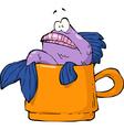 fish in a mug vector image vector image