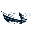 fisherman in boat with fishing rods vector image vector image