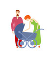 flat adult couple and baby stroller vector image vector image