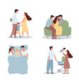 four happy family scenes with young children vector image