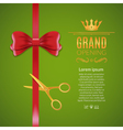 Grand Opening red ribbon and bow Open ceremony vector image vector image
