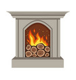 gray burning fireplace isolated on a white vector image