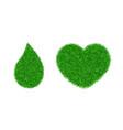 green grass 3d set green grass heart love land vector image