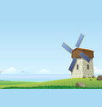 green landscape with windmill vector image