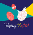 greeting card with ornamental eggs and hares for vector image vector image