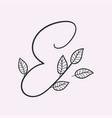 handwritten letter e monogram or logo brand vector image