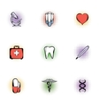Healing icons set pop-art style vector image vector image